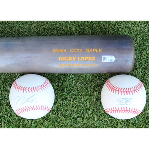 Photo of Autographed Baseballs and Game-Used Broken Bat: Nicky Lopez and Bubba Starling