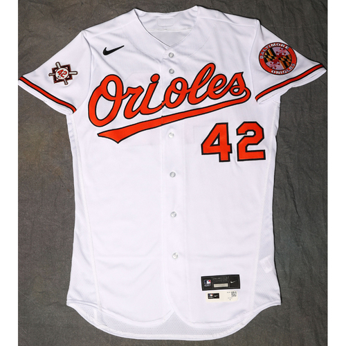 Photo of Travis Lakins Autographed, Game-Used Jackie Robinson Day Jersey