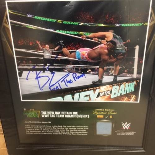 Big E SIGNED Money In The Bank 2016 15 x 17 Framed Ring Canvas Photo Collage