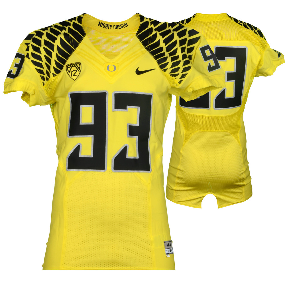 buy online 00890 8dfa0 Oregon Ducks Game-Used #93 Yellow and Black Football Jersey ...