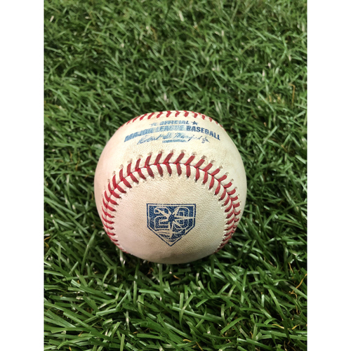 Photo of 20th Anniversary Game Used Baseball: Jalen Beeks strikes out Chris Davis - August 8, 2018 v BAL