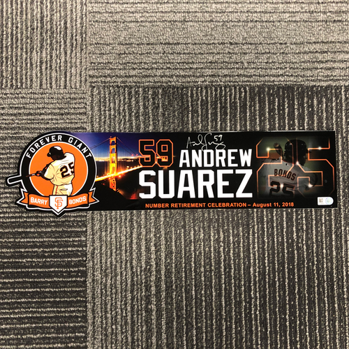 Photo of 2018 Holiday Deal! - 2018 Autographed Team Issued #25 Retirement Day Locker Tag (Player Collected) - #59 Andrew Suarez