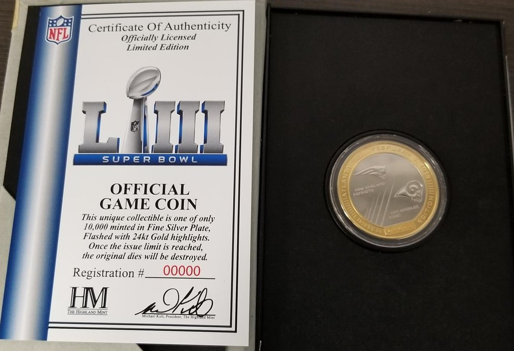 Super Bowl 53 Game Used Flip Coin 2/3/19