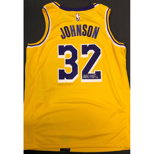 Photo of Magic Johnson Autographed Los Angeles Lakers Jersey