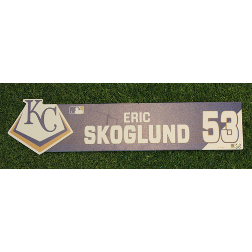 Photo of Game-Used Locker Nameplate: Eric Skoglund (ATL @ KC - 9/25/19)