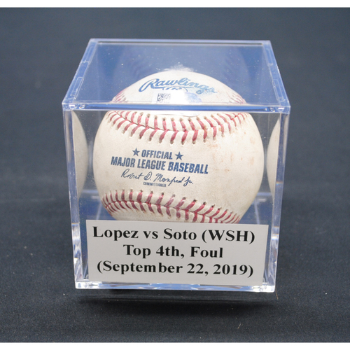 Photo of Game-Used Baseball: Pablo Lopez vs Juan Soto (WSH), Top 4th, Foul - September 22, 2019