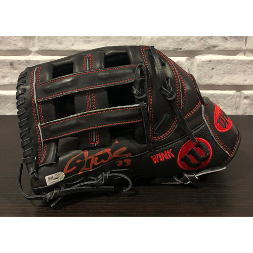"Photo of Jesse Winker -- *Autographed* Fielder's Mitt -- Monogrammed with ""WINK"""