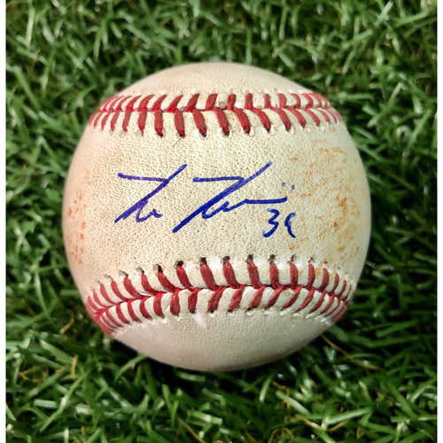 Photo of 20th Anniversary Game Used Baseball: Kevin Kiermaier Double off Dan Straily - July 20, 2018