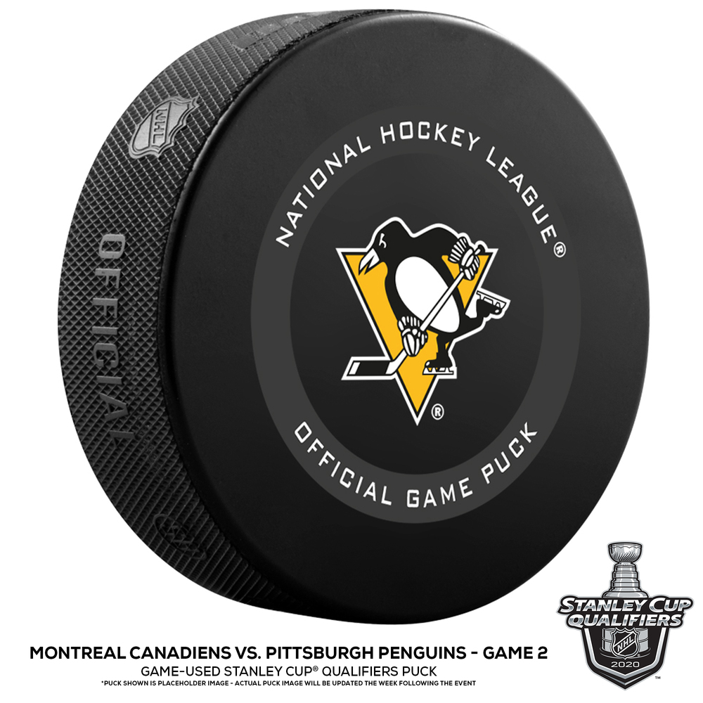 Pittsburgh Penguins vs. Montreal Canadiens Game-Used Puck from Game 2 of the 2020 Qualifying Series on August 3, 2020