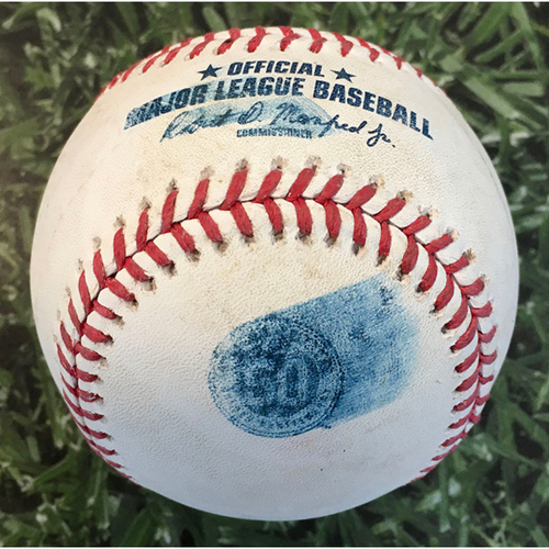 Photo of Game-Used Baseball CIN@MIL 08/24/20 - Josh Hader - Nick Castellanos: Foul