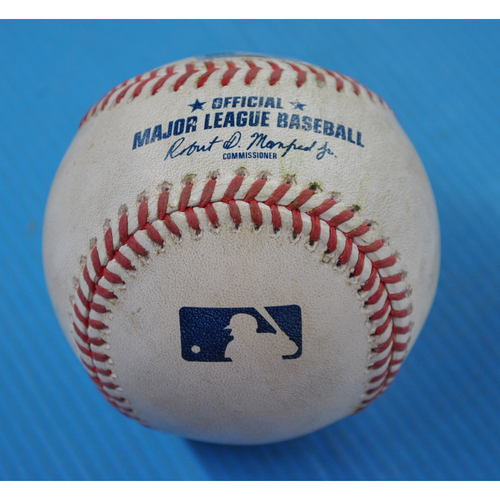 Photo of Game-Used Baseball - 2020 ALDS - Houston Astros vs. Oakland Athletics - Game 1 - Pitcher: Chris Bassitt, Batters: George Springer (Single to RF), Jose Altuve (Foul) - Top 5