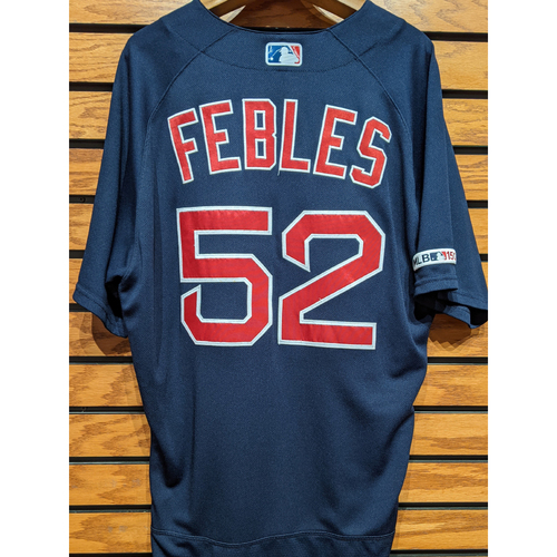 Coach Carlos Febles #52 Game Used Navy Road Alternate Jersey