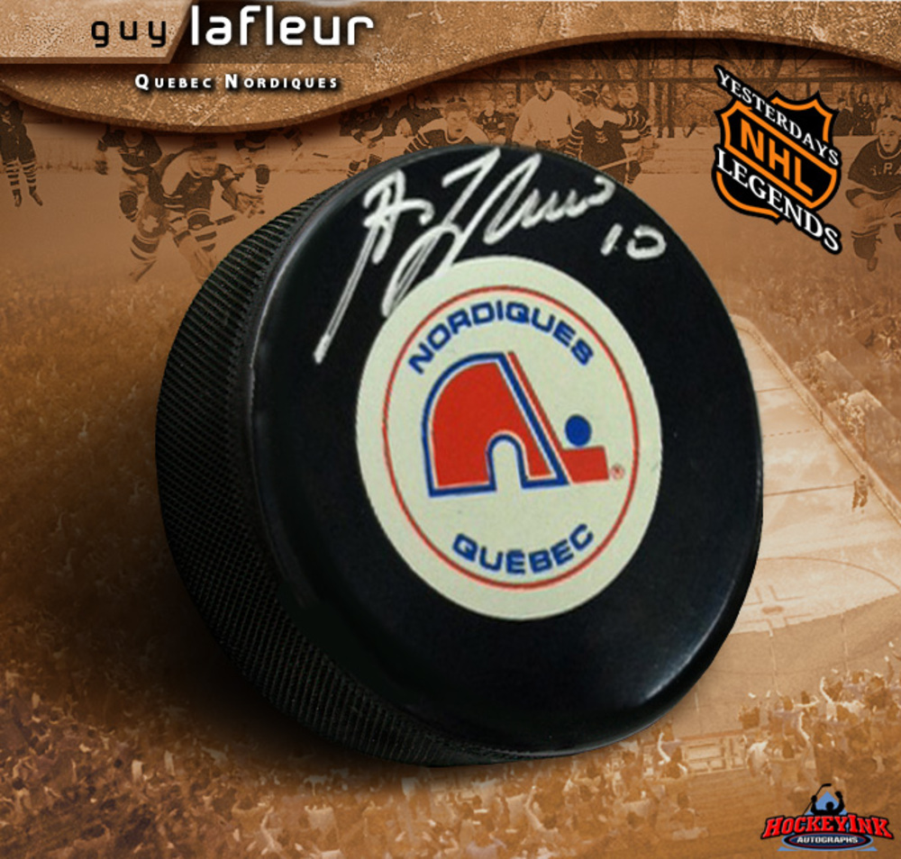 GUY LAFLEUR Signed Quebec Nordiques Puck