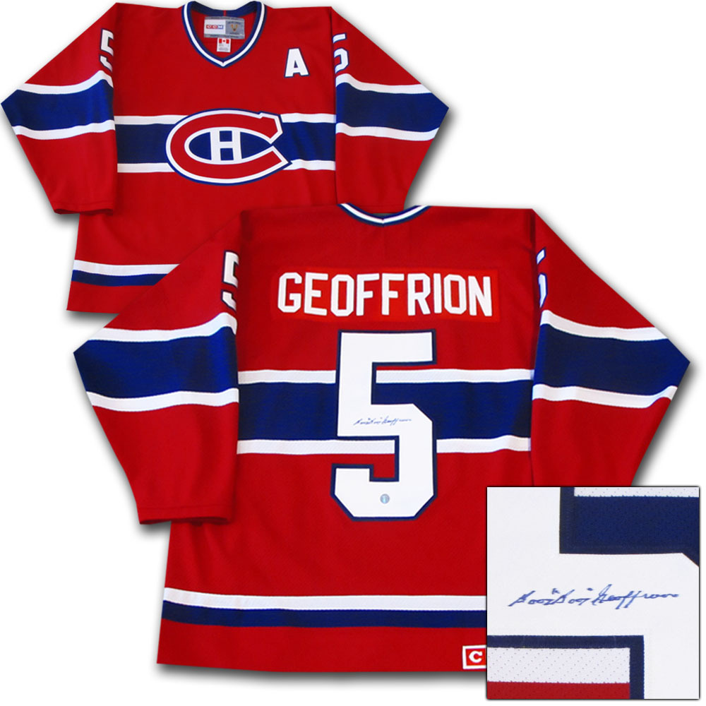 Bernie BOOM BOOM Geoffrion (deceased) Autographed Montreal Canadiens Jersey