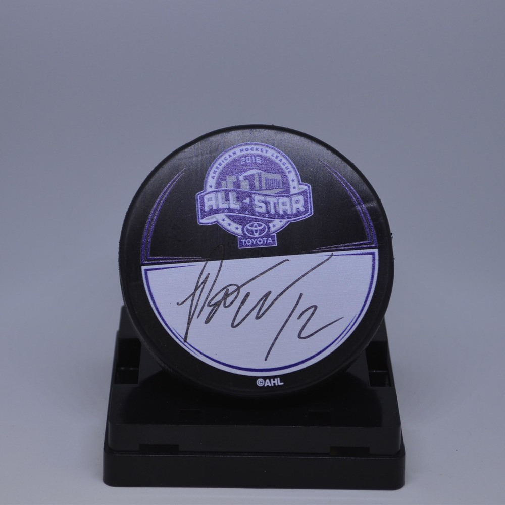 2016 Toyota AHL All-Star Classic Souvenir Puck Signed by #12 Pat Cannone