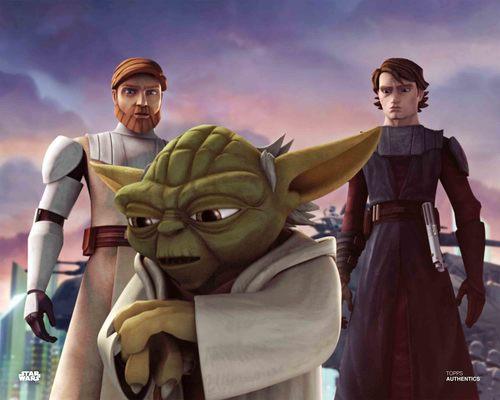 Anakin Skywalker, Yoda, Obi Wan Kenobi and Ahsoka Tano