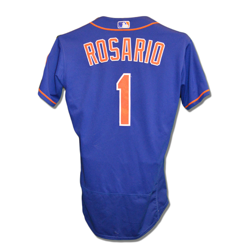 Amed Rosario #1 - Game-Used Blue Alternate Home Jersey - 3-4, RBI - Mets vs. Phillies - 7/10/18
