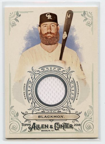 Photo of 2018 Topps Allen and Ginter Relics #FSRBCB Charlie Blackmon B