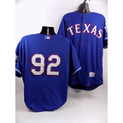 Photo of Blue Texas Rangers Team-Issued Jersey - #92