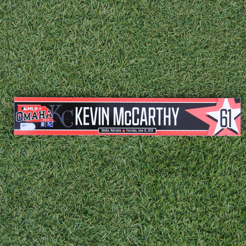 Photo of Game-Used Locker Tag: MLB in Omaha - Kevin McCarthy (DET @ KC - 6/13/19)