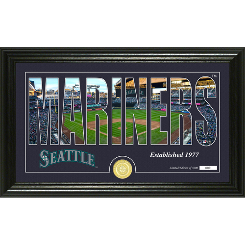 """Photo of Seattle Mariners """"Silhouette"""" Panoramic Bronze Coin Photo Mint"""