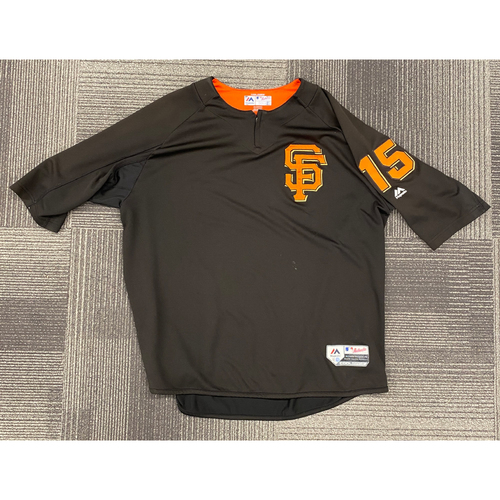 Photo of 2018 Game Used Batting Practice Pullover Jersey worn by #15 Bruce Bochy on 9/30 vs. LAD - Size 2XL