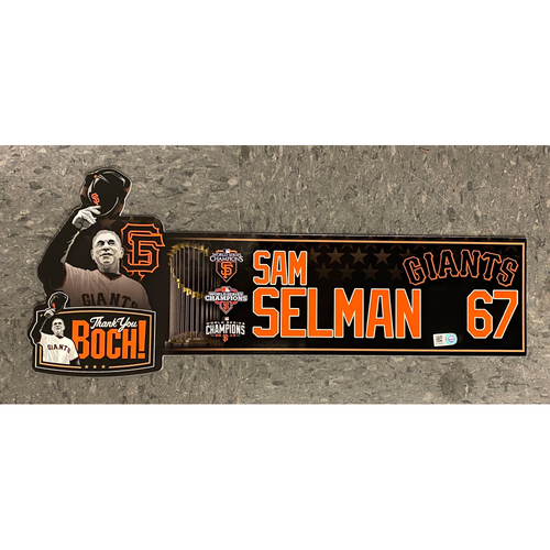 Photo of Game Used Thank You BOCH! Locker Tag - #67 Sam Selman
