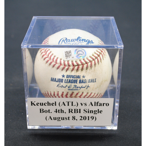 Photo of Game-Used Baseball: Dallas Keuchel (ATL) vs Jorge Alfaro, Bot. 4th, RBI Single - August 8, 2019