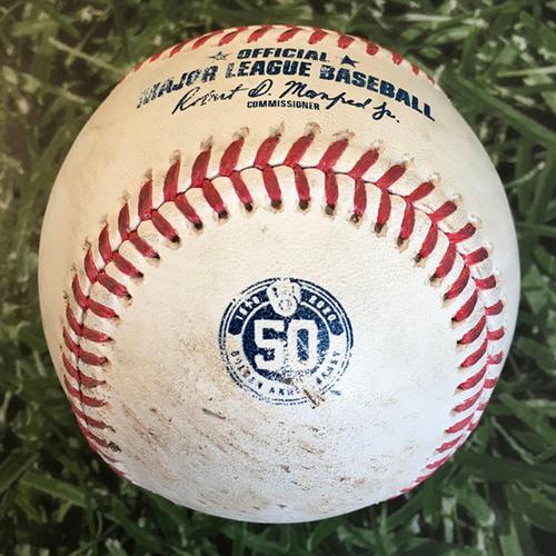 Photo of Game-Used Baseball CIN@MIL 08/27/20 (Game 1 of Doubleheader) - Sonny Gray - Keston Hiura: Single