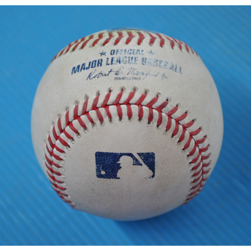 Photo of Game-Used Baseball - 2020 ALDS - New York Yankees vs. Tampa Bay Rays - Game 1 - Pitcher: Blake Snell, Batter: DJ LeMahieu (Single to CF) - Top 1