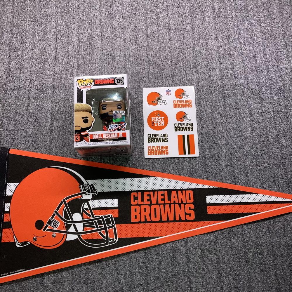 NFL - Browns Bundle  Odell Beckham Funko Pop + Browns Pennant and Sticker
