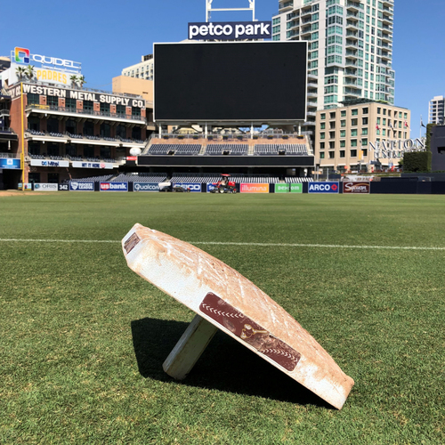 Photo of LAA @ SDP Game-Used 1st Base. Shohei Ohtani reaches on Base Hit Single in the 8th. 352nd Career Hit. 120th Base Hit from 2021 Season.