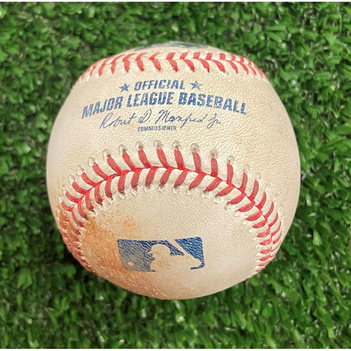 Photo of Game Used Baseball - Pitcher: Eric Lauer, Batter: Freddie Freeman (Fly Out) - 10/12/21- NLDS Game 4, Braves Win NLDS