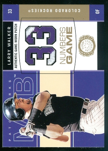 Photo of 2003 Fleer Patchworks Numbers Game Patch #LW Larry Walker