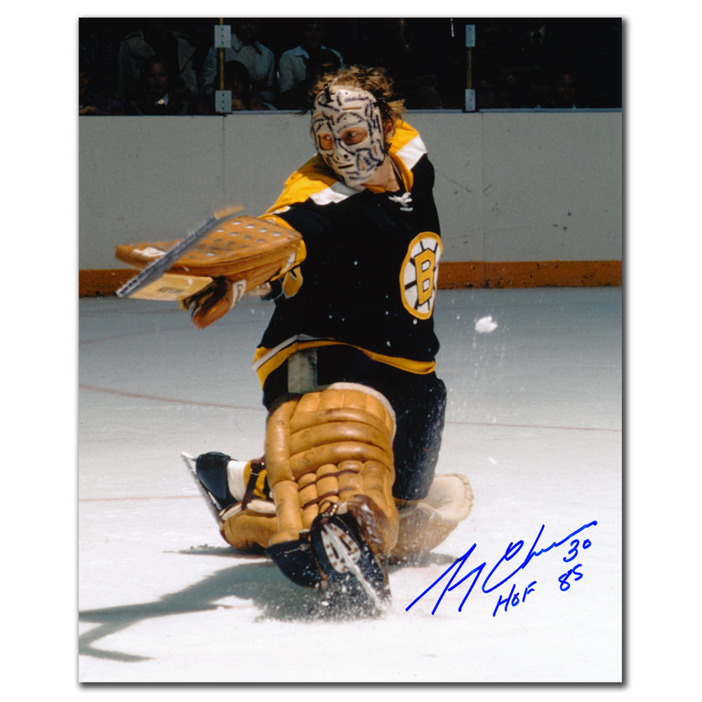 Gerry Cheevers Boston Bruins KICK SAVE Autographed 8x10