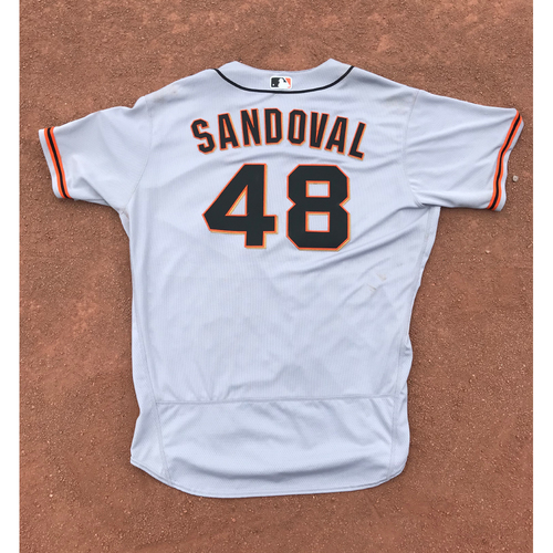 Photo of San Francisco Giants - 2017 Game-Used Jersey - #48 Pablo Sandoval - Road Jersey - Worn 9/26 - Jersey Size 52
