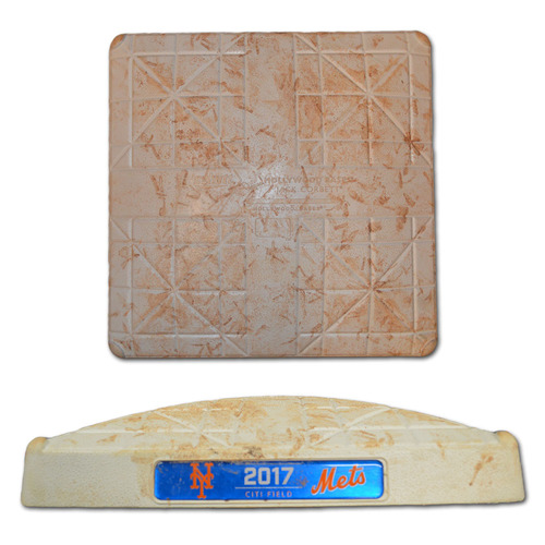 Photo of Game Used 2nd Base - Seth Lugo Hits 1st Career Home Run - Innings 1-3 - Mets vs. Rockies - 7/15/17