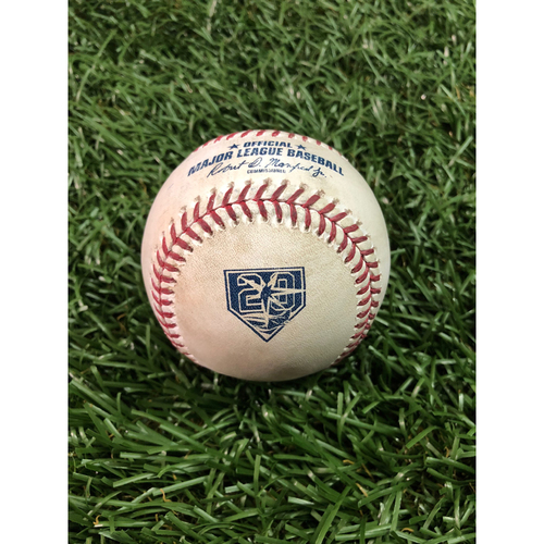 Photo of 20th Anniversary Game Used Baseball: Ozzie Albies line out and Ronald Acuna Jr. foul ball off Blake Snell - May 8, 2018 v ATL