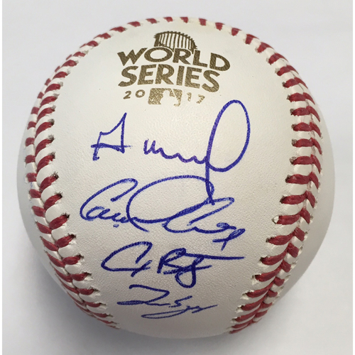 Photo of Houston Astros Jose Altuve, George Springer, Alex Bregman and Carlos Correa Autographed 2017 World Series Logo Baseball