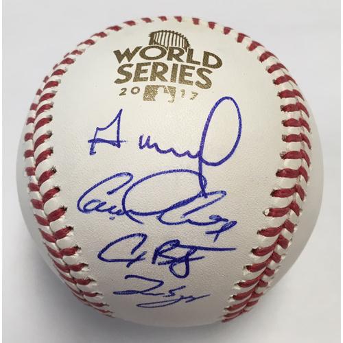 Photo of Houston Astros Jose Altuve, George Springer, Alex Bregman and Carlos Correa Autographed 2017 World Series Logo Baseball