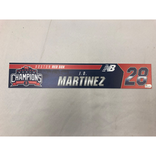 Photo of J.D. Martinez Game Used April 9, 2019 Locker Tag - Blue Jays at Red Sox