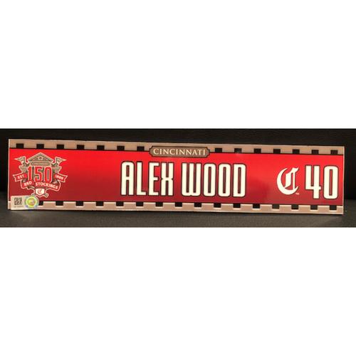 Photo of Alex Wood -- Game-Used 2019 Regular Season Locker Tag