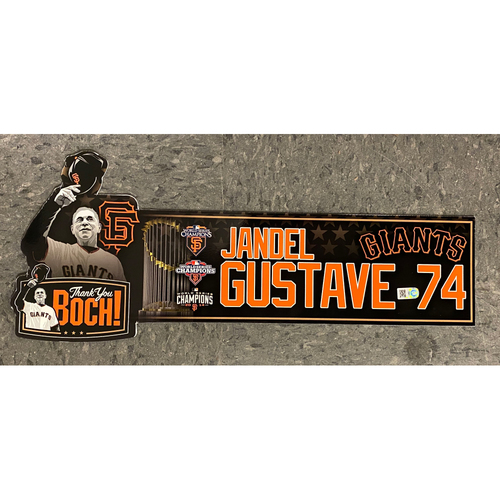 Photo of Game Used Thank You BOCH! Locker Tag - #74 Jandel Gustave