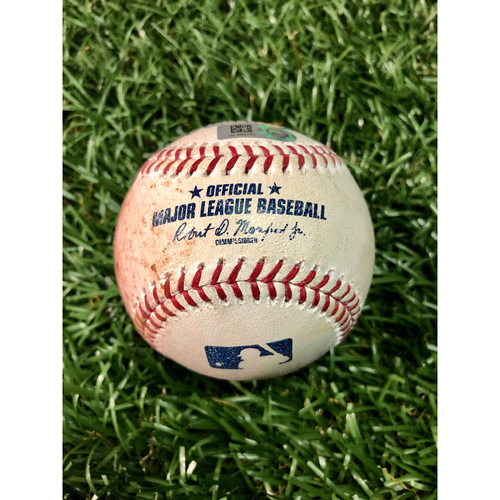 Photo of Game Used Baseball: Aaron Judge strikeout and Didi Gregorius foul ball off Charlie Morton - July 7, 2019 v NYY