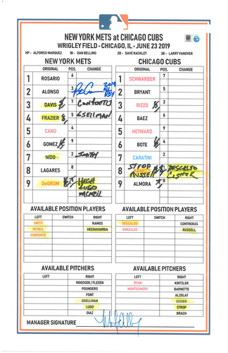 "Photo of Pete Alonso #20 - Autographed Game Used Lineup Card - Inscribed ""2019 NL ROY"" - Alonso Sets Mets Single Season Rookie HR Record with his 27th Home Run; Alonso 1-2, HR (27), 2 BB's, RBI and 1 Run Scored - Mets vs. Cubs - 6/23/19"