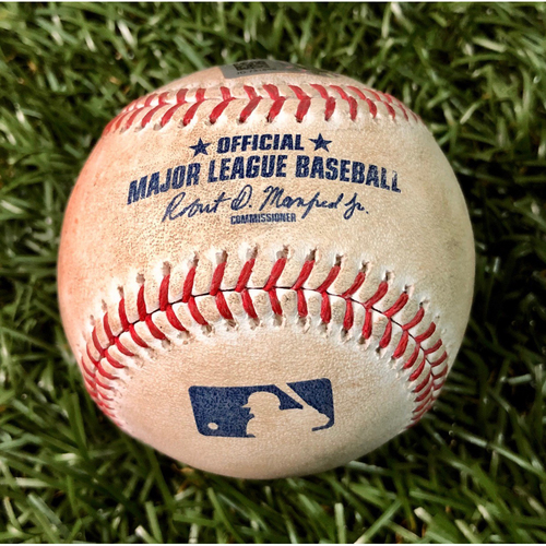 Photo of Game Used Baseball: Marco Hernandez walk, Mookie Betts single & Rafael Devers ball-in-dirt against Austin Pruitt - September 23, 2019 v BOS