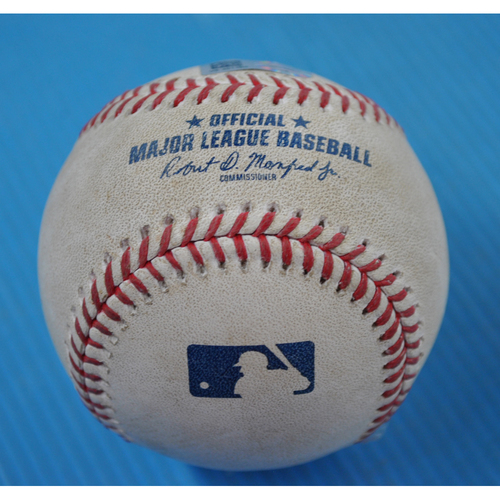 Photo of Game-Used Baseball - 2020 ALDS - New York Yankees vs. Tampa Bay Rays - Game 1 - Pitcher: Oliver Drake, Batter: Giancarlo Stanton (Flyout to RF) - Top 8