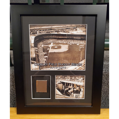 Photo of Framed Piece of Crosley Field Dugout Bench (Number 43 of 150)