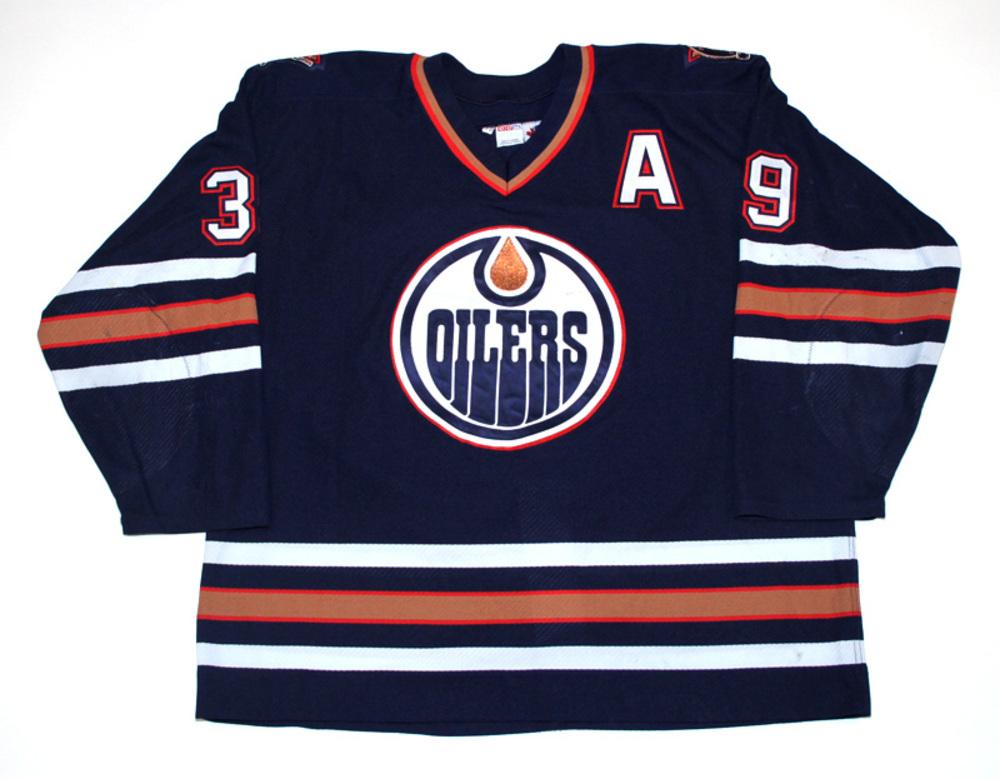 Doug Weight  39 - 1998 99 Edmonton Oilers Game Worn Navy Blue CCM Jersey 350ba8b23