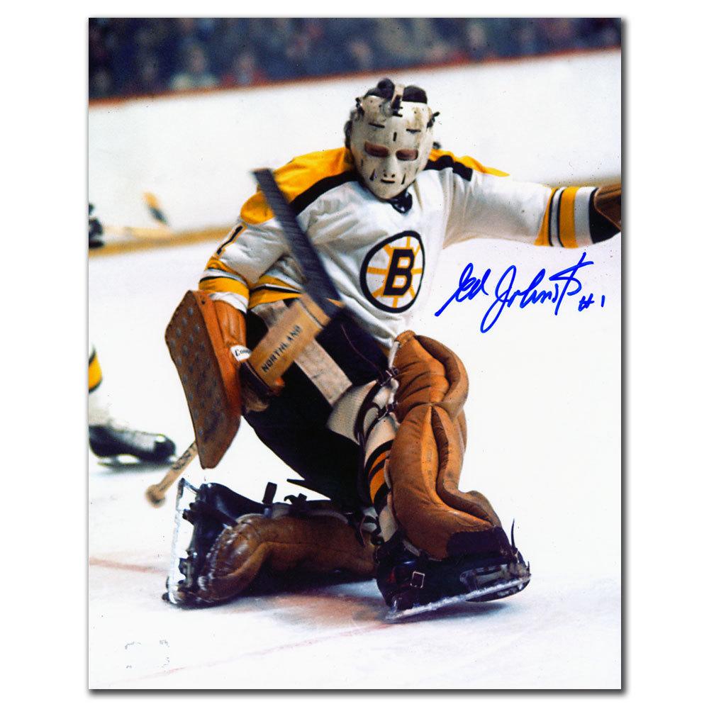 Ed Johnston Boston Bruins STICK SAVE Autographed 8x10